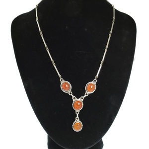 Carnelian and Sterling Princess Necklace